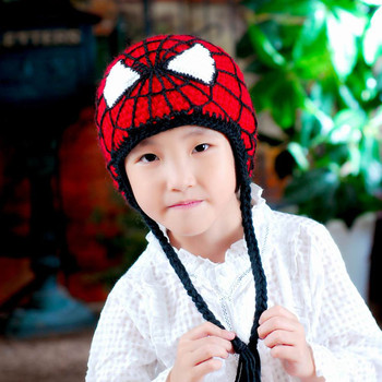 1pc Free shipping Crochet Children Spiderman Hats Knitted Baby Photo Props Kids Winter Beanies MZS-14070