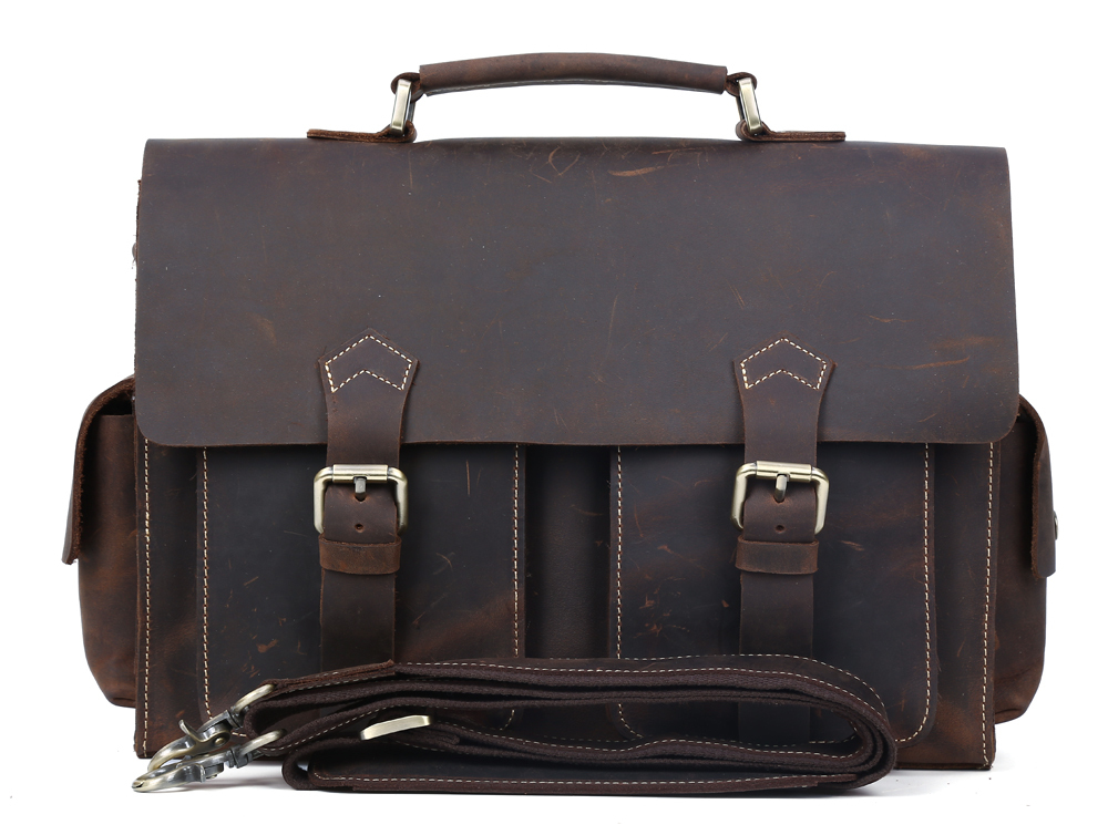 TIDING Cross body shoulder bag 2014 cowhide leather bag for man retro brown briefcase 1088(China (Mainland))