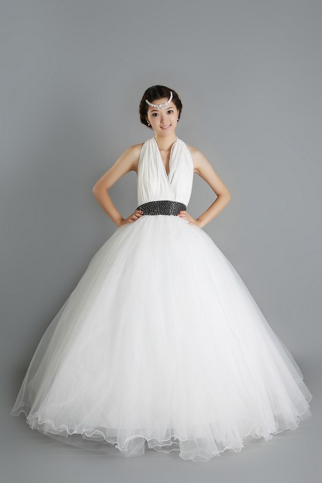 Free shipping,Simple,Customize,Wedding dress,Ball Gown,Halter,Anke length,Open back,Fold,Beaded,Chiffon,Net/Tulle,Standard code(China (Mainland))