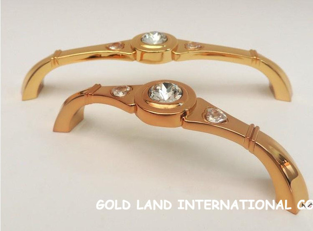 128mm Free shipping K9 crystal glass 24K golden hot sale furniture handle / drawer handle
