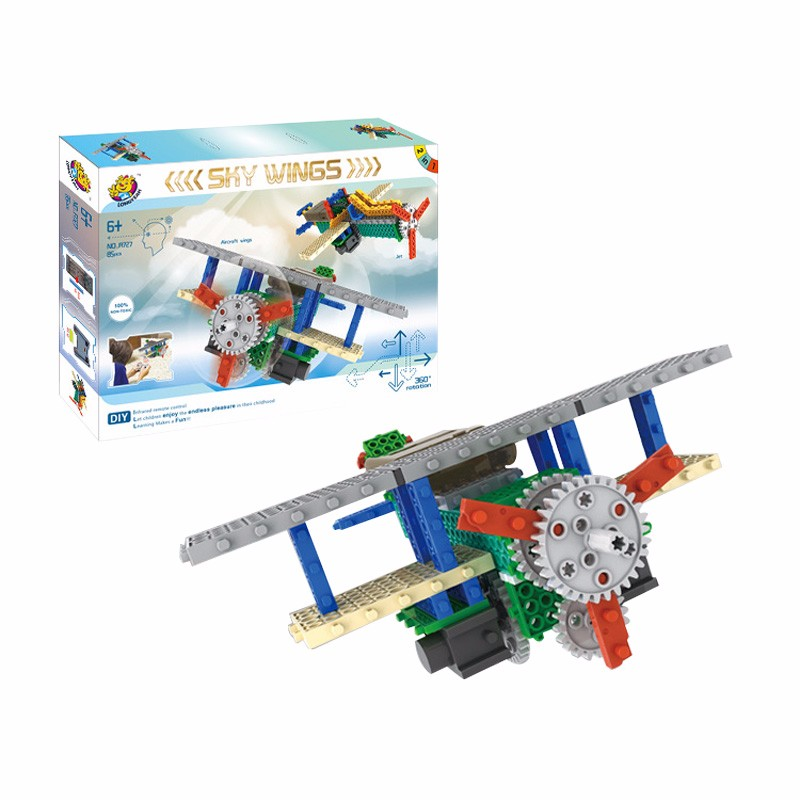 RC Plane Jet Aircraft Remote Control Electric Building Blocks Toys 4CH 2IN1 RC Toys Educational Kit Christmas Toys Gift For Kids