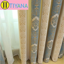 2 Colors Cloth Jacquard European Curtain Panels Blackout Window Shutter For Living Room Blue Cortina Luxury Red Curtains #30(China (Mainland))