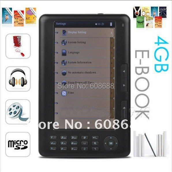 """7"""" eBook Reader RockChip2729 Color C-Paper LCD MP4 MP5 4GB electronic book Black/White,free shipping(China (Mainland))"""