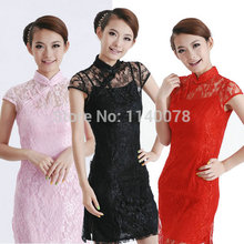 Chinese Traditional Cheongsam Style Lady Lace Hollow Dress Two Pieces/ Women's S-XXXL Summer,Spring Fall Loose Dresses/ A219