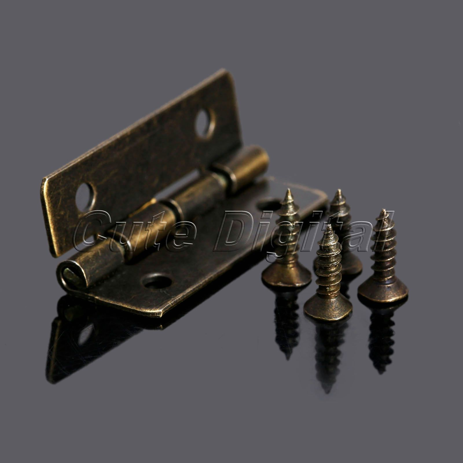 12pcs Antique Brass Vintage Jewelry Gift Wine Wood Box Hinge Furniture Fitting Cabinet Hinge Accessories for Woodworking w/Screw(China (Mainland))
