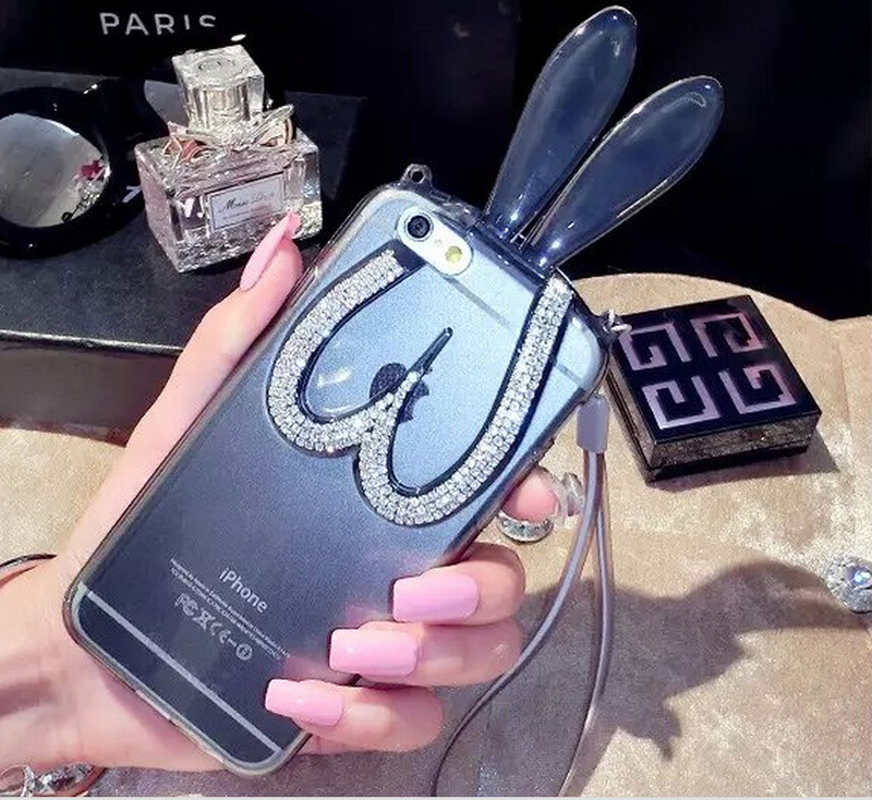 10pcs luxury Diamond Rabbit ear case for iphone6 transparent soft TPU cover Rabbit ear holder for iphone6 plus(China (Mainland))