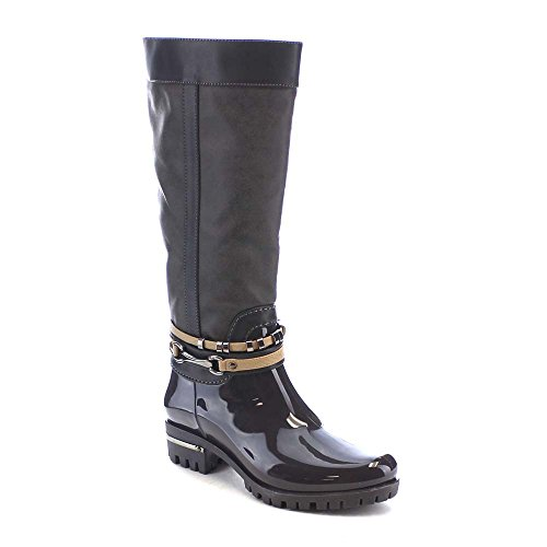Women's Faux Leather&PVC Side zipper charm Waterproof Under The Knee High Rain Boots(China (Mainland))