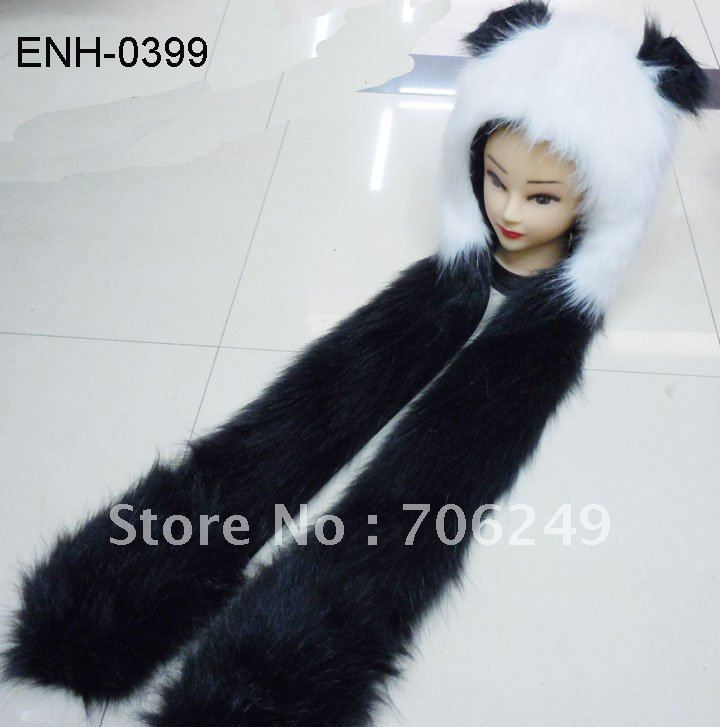 2 Unisex Panda Style Caps Hats Keep Hands Ears Warms Beanies Can Mix COlors - ELLEN FASHION ACCESSORIES store