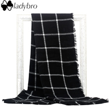 Ladybro Europe Classic Black White Grid Za Scarf Women Imitation Cashmere Scarf Tartan Plaid Scarf Blanket Oversized Wrap Shawl