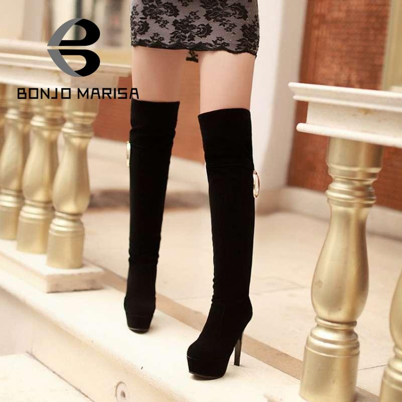 Brand New Man-made Suede Women's Over the Knee Long Boots Warm Fur High Heels Platform Round Toe Winter Motorcycle Boots Shoes(China (Mainland))
