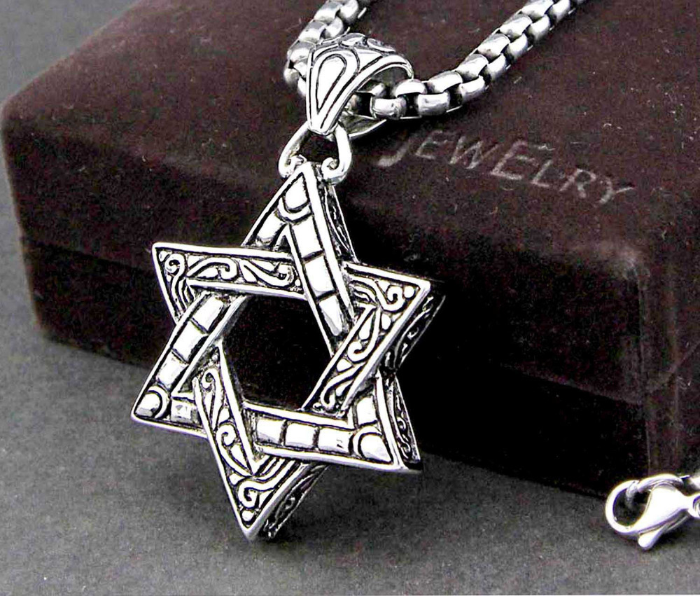 Star of Magen David Necklace Man's 316L Stainless Steel Pendant Necklace Chain(China (Mainland))