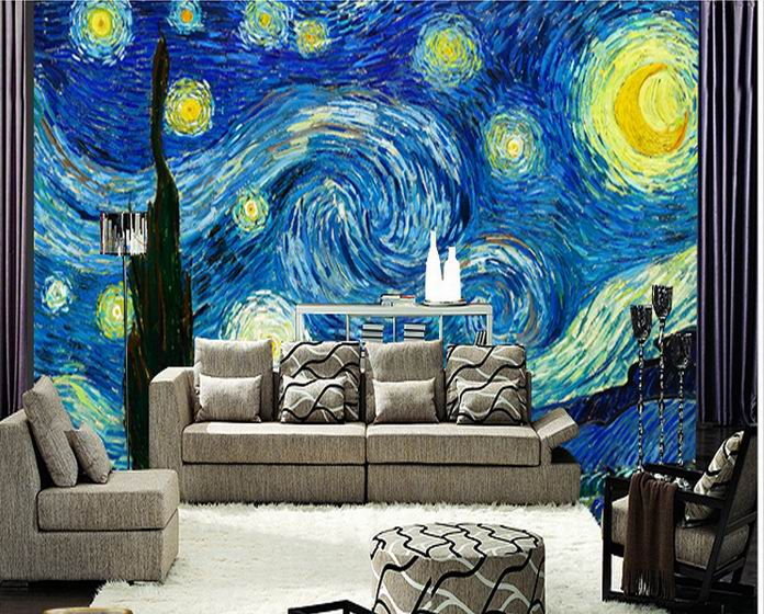 Luxury embossed millenum 3d murals blue oil painting sofa for 3d mural painting tutorial