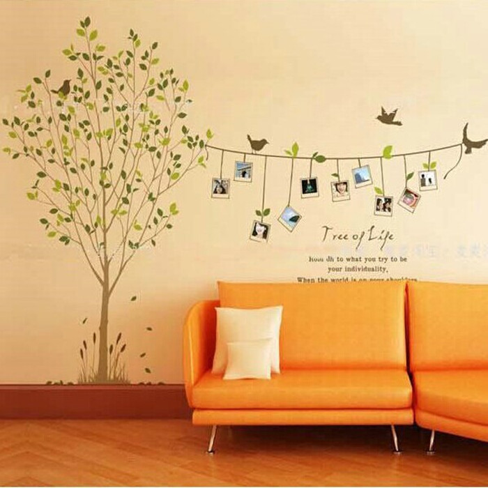 Wholesale three generation combination living room bedroom frame of natural wind tree wall stickers(China (Mainland))