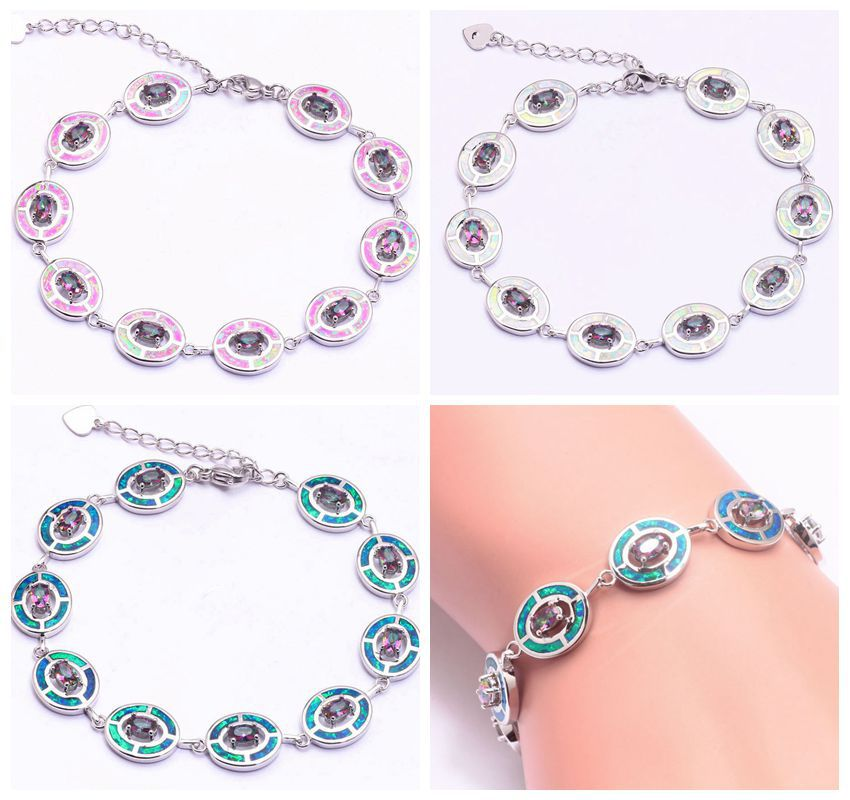 Fashion &amp; Luxury Wholesale &amp; Retail For Women Jewelry Pink Blue White Opal Mystic Topaz Silver Chain Bracelet 9 1/8 OS473-75<br><br>Aliexpress