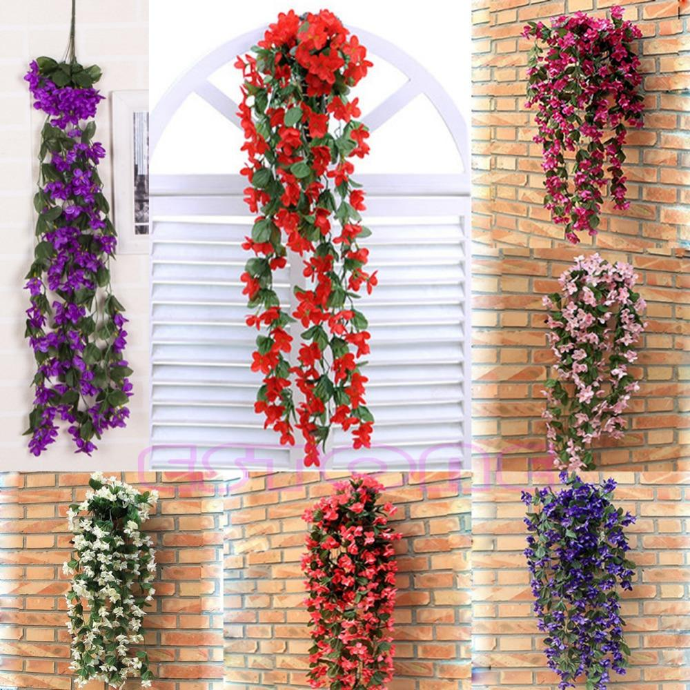 Vine Flowers Artificial Fake Violet Hanging Garland Hanging Home Wedding Decor free shipping(China (Mainland))