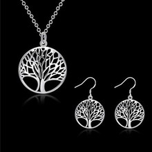 Silver Gold Color Trendy Jewelry Sets The tree of life Pendant Necklace Earrings Rings Set Party bijoux collares populares joias(China)