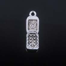 12pcs/lot 27mm x 9mm Antique silver plated mobile phone charm fit DIY necklace pendant & bangle bracelet charm for women Jewelry(China (Mainland))