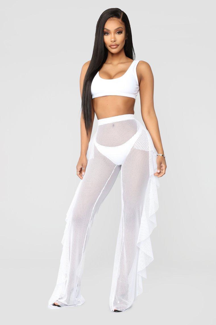 Summer Women Mesh Sheer Fishnet Pant Trousers Bikini Cover Up Beach Bathing Suit