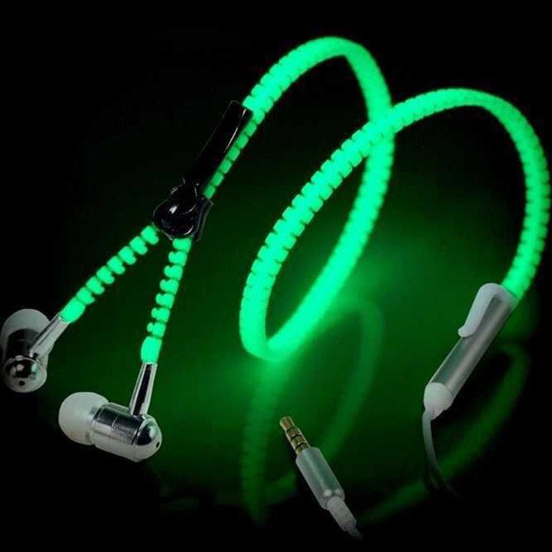 6 Color Glow Headphone Luminous Light Metal Zipper Earphone Glow In The Dark Headphones Headset for Iphone Samsung Xiaomi MP3/4(China (Mainland))