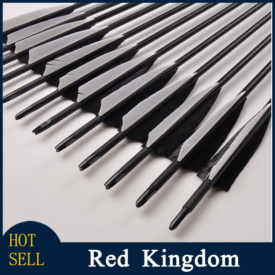 12pcs/lot Archery Hunting Carbon Arrow Spine500 OD 8mm 32