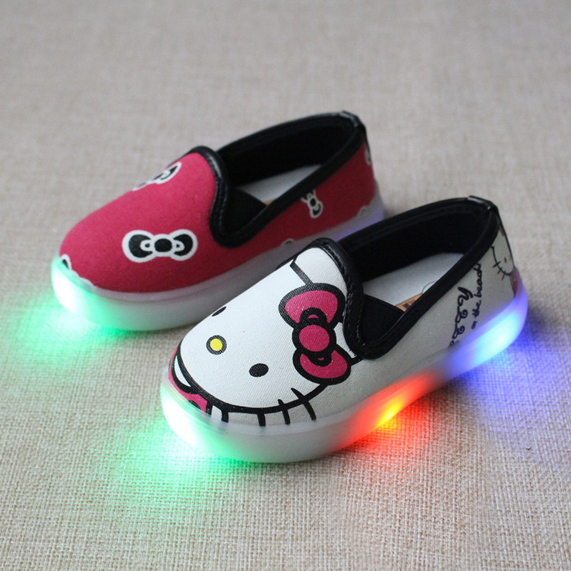Eur21-30// Children Shoes With Led Light Up Luminous glowing Cartoon Canvas Sneakers Casual Princess Girls Shoes Kids&toddlers(China (Mainland))