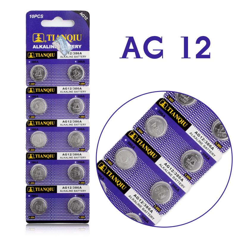 10pcs/lot LR43 Button Cell Coin Battery Alkaline AG12 V12GA SR43W SG12 260 1.55V Hot selling 59%(China (Mainland))