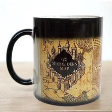 Free shipping!1Pcs Harry Potter Marauders Map Magic Hot Cold Heat Temperature Sensitive Color-Changing Coffee Tea Milk Mug Cup