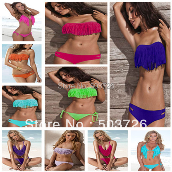 Free Shipping Hot Sale Swimwear Women Padded Boho Fringe Bandeau Bikini Set New Swimsuit Lady Bathing suit