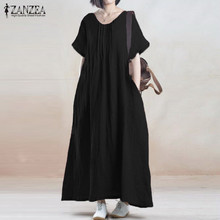Buy Summer Dress 2017 ZANZEA Women Vintage Casual Loose Solid Long Maxi Dresses Short Sleeve O Neck Cotton Vestidos Plus Size for $11.29 in AliExpress store