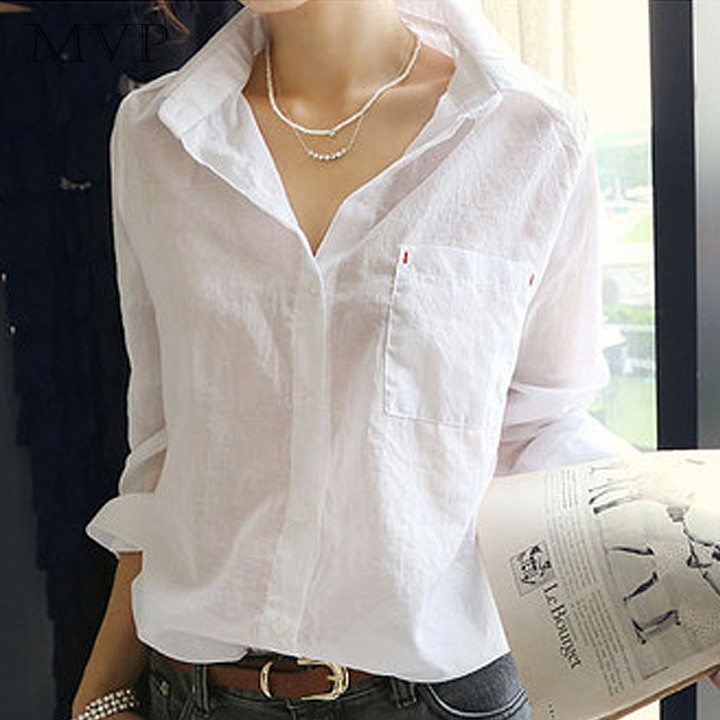 Awesome Women OL Sleeve White Long Sleeved Shirt Puffed Sleeve Shirt Dress