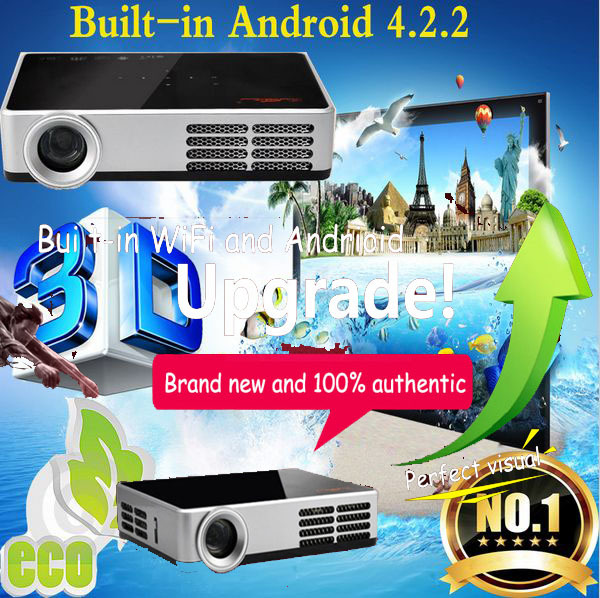 Built-in WiFi full HD 3D projector Portable DLP Smart Mini Proyector Support Wifi SD USB Android TV Tablet PC for Home Theater(China (Mainland))