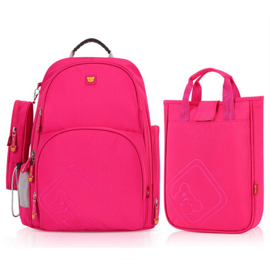 children girls school bag set lunch box bag Korean style cute pencil case (3pcs/set) high quality waterproof fabric book bag(China (Mainland))