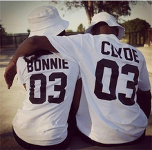 2016 European Street Style BONNIE CLYDE 03 Letter Print T-shirt Summer Male And Female Shirt Graphic Tees Women Men Sport Tops(China (Mainland))