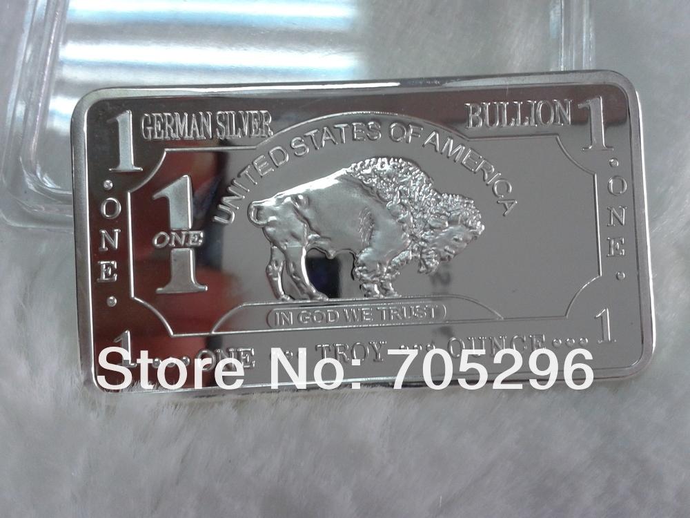 Fee shipping wholesale 5pcs/lot 1 oz german silver plated bar buffalo bullion bar coin(China (Mainland))
