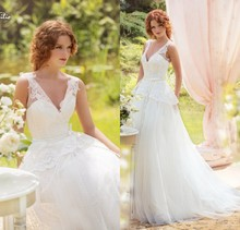 Buy Custom made Tulle Sexy V-neck Lace Appliques Peplum Tank Ball Gown Wedding Dress Court Train Bridal Dresses for $166.50 in AliExpress store