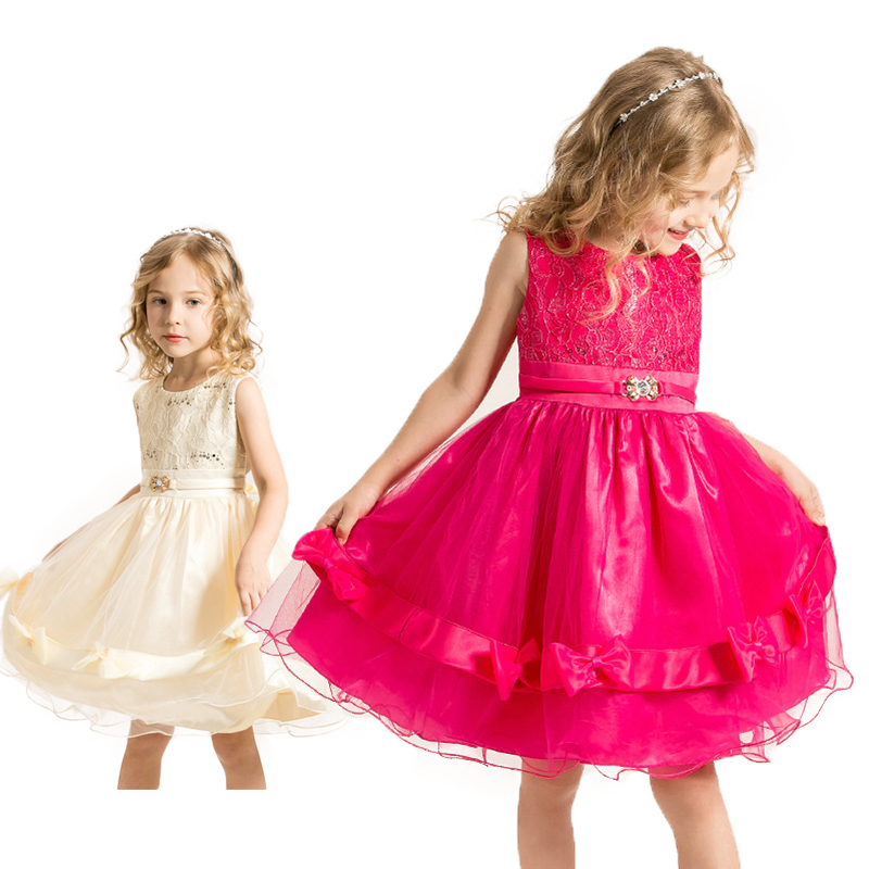 Summer Girls Princess Dress Girl Red Lace Tutu Bow Kids Dress Sleeveless Mesh Girl Party Dress Children Wedding Gown 3-8 Years(China (Mainland))