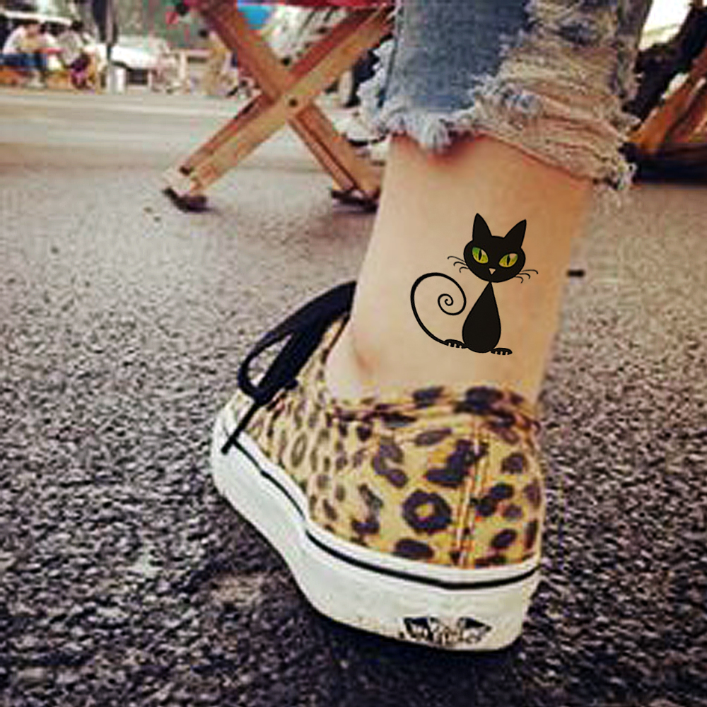 Min order is $5 Waterproof Temporary Fake Tattoo Stickers Sexy Black Cats Green Eyes Design Arm Leg Make Up Tool(China (Mainland))
