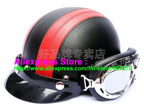 P.102 New Leather Half Bol Vespa Cycling Half Face Motorcycle Black # Red Helmet Visor & Silver Goggles SIZE M , L , XL(China (Mainland))