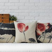 Retro Mahogany Ink Lotus cotton Linen Pillow Cushion
