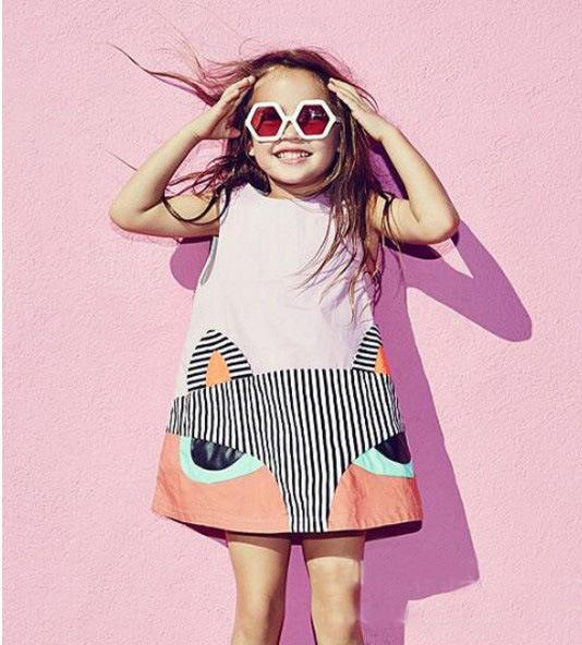 2016INS Hot Girls summer dress fox dress for girls sleeve dress beach clothing children clothing baby clothing(China (Mainland))