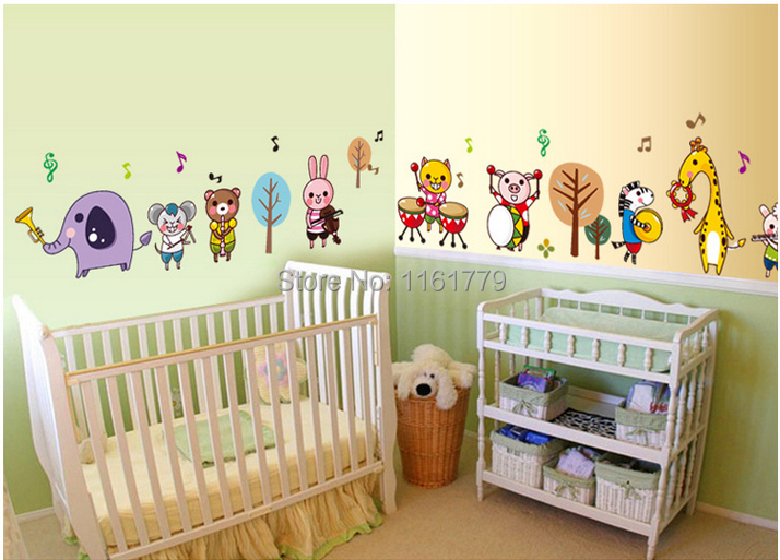 zoo safari wall sticker child role of children diy adhesive art mural picture Animal Rock Band removable vinyl wallpaper AY7155(China (Mainland))