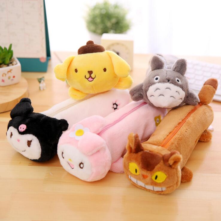 Famous Cartoon Characters Pencil Plush Case Stationery Storage Organizer Bag School Office Supply Escolar(China (Mainland))