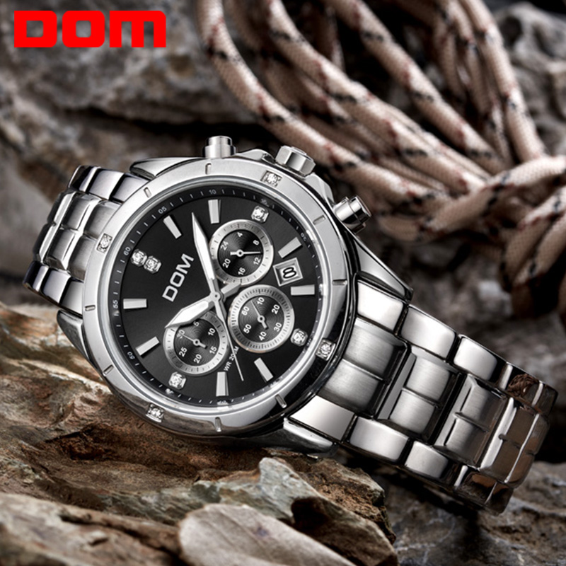 Dom watch multifunctional mens watch luminous steel sheet timep waterproof sports casual male watch(China (Mainland))