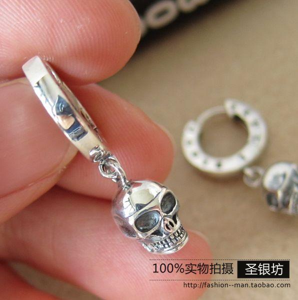 Silver 925 pure silver thai silver punk male stud earring skull hoop earrings fashion<br><br>Aliexpress