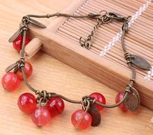 New Arrival Vintage Fashion Beads Bracelets Sweet Korea Cherry Bracelets For Women KKB003(China (Mainland))