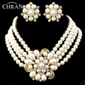 Fashion Crystal Rhodium Plated Necklace Stud Earrings Party Gifts Luxury Rows Imitation Pearl Flora Wedding Bridal
