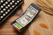New fashion 100% Brand Genuine cow leather stainless steel money clips men wallet Brown JM-00849(China (Mainland))