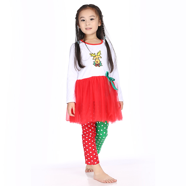 New 2015 christmas clothes girls xmas Outfit girl boutique ruffle pants long sleeve baby girl ...