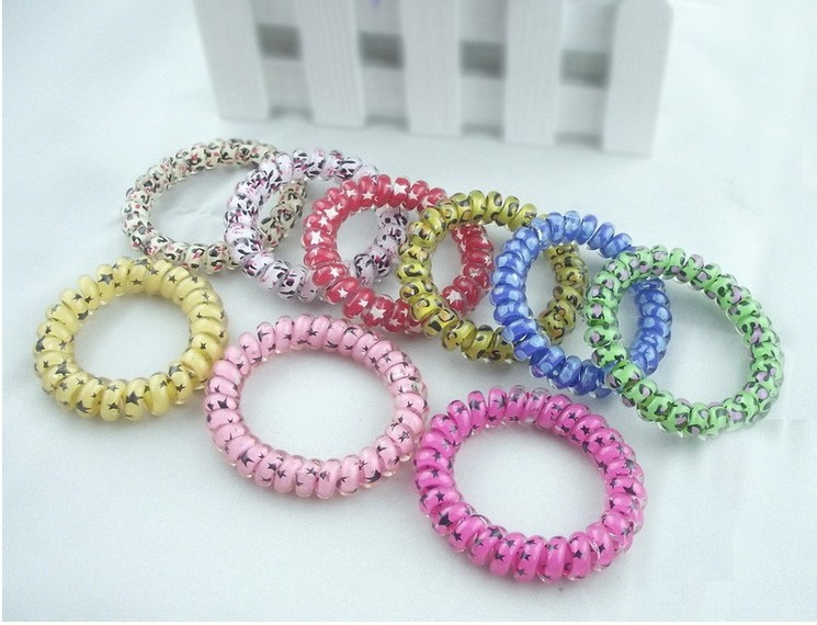 Free Shipping SQ0009 Stars Telephone Wire Cord Head Rope Elastic Lady Rubber Hair band Tie 100pcs/lot