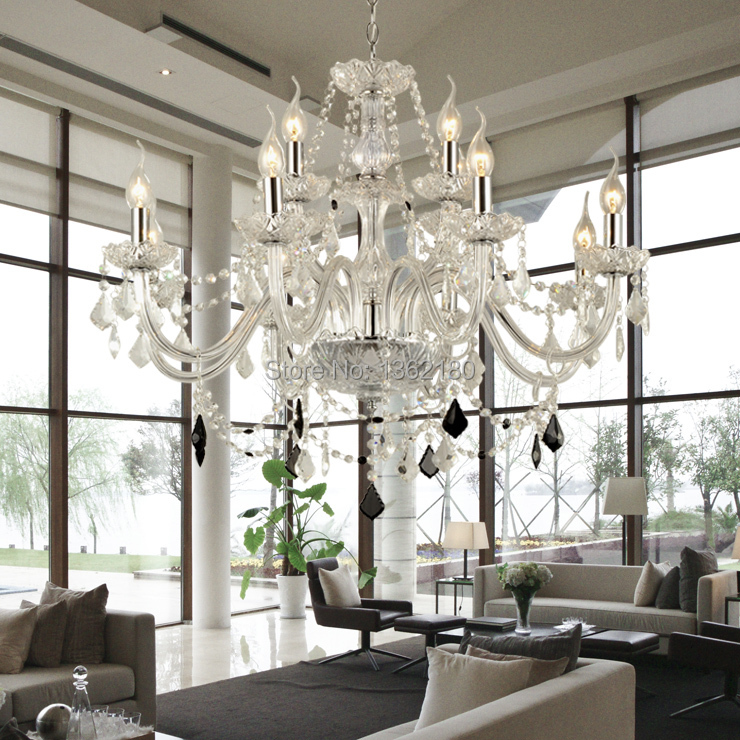 Large 12 bulbs european candle crystal chandeliers ceiling for Modern crystal chandelier for dining room